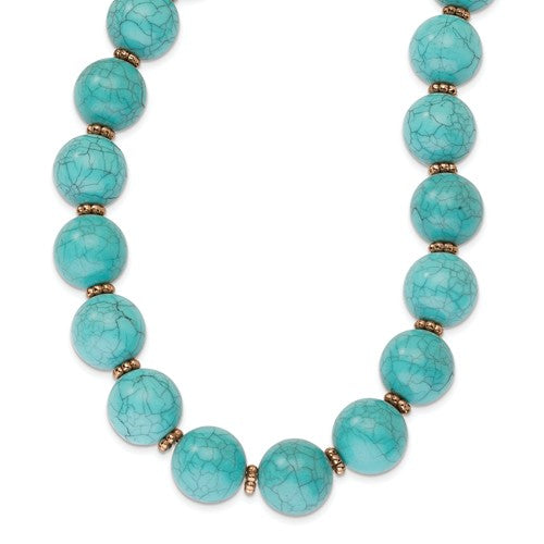 Copper-Tone Aqua Acrylic Beads 16in With Ext Necklace