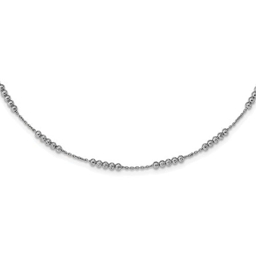 Leslie's Sterling Silver Polished D/C Beaded Necklace