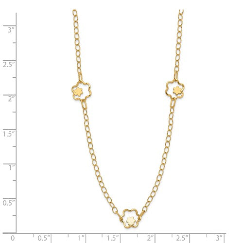 14K Yellow Gold Polished Flower Necklace