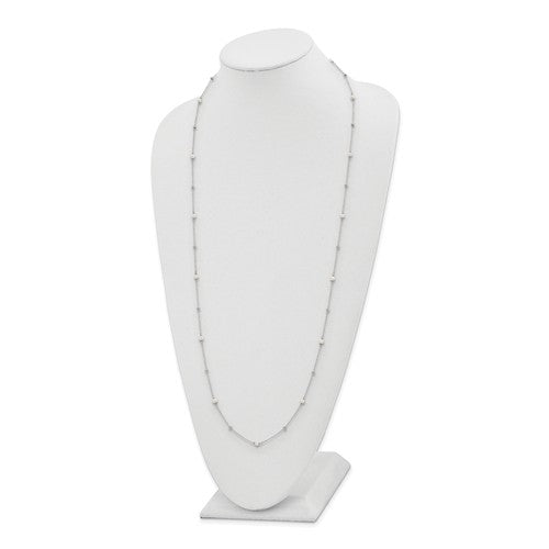 Sterling Silver Polished Beads And Freshwater Cultured Pearl Necklace