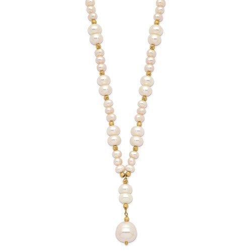14k 4-10mm White Mixed Shape FW Cultured Pearl D/C Drop Necklace