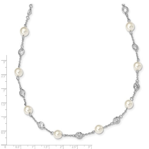 Cheryl M SS Rhod Plated CZ And Simulated Pearl Station 18.25in Necklace