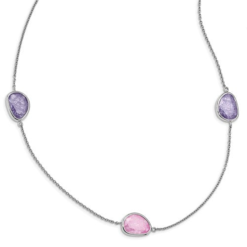 Sterling Silver Rhodium-Plated Purple/Pink Ice CZ 9-Station Necklace