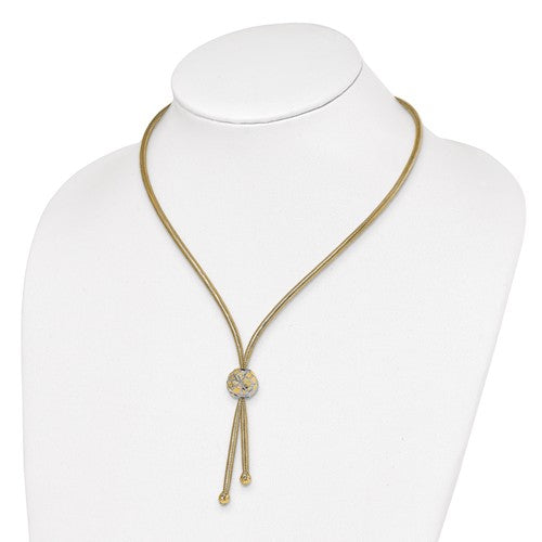 Leslie's 14K And White Rhodium Polished D/C Mesh Necklace