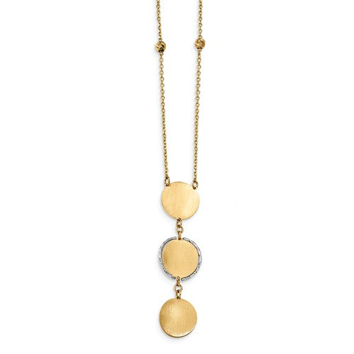 14K TT Satin And Polished D/C Beads And Circle Dangle With 1in Ext. Necklace