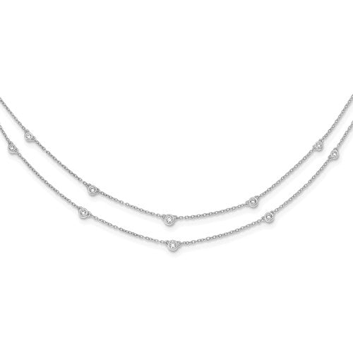 14K White Gold Diamond Multi Station Double Strand Necklace