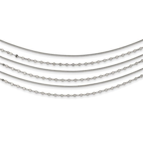 Sterling Silver Beaded Layered With 1in .Ext Necklace