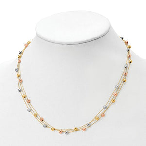 Leslie's 14K Tri-Color Polished Beaded Multi-Layered With 1.25 Ext. Necklace