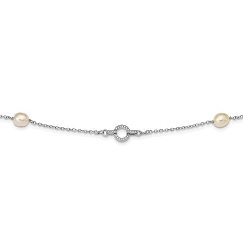 Sterling Silver Rhod-Plat 7-8mm 4 FWC Pearl Stations CZ Necklace