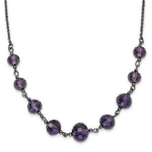 Black-Plated Smokey Purple Glass Beads 16in With Ext Necklace
