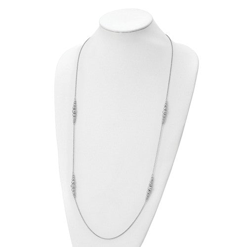 Leslie's Sterling Silver Rhodium-Plated Polished Hammered Bead Necklace