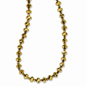 Brass-Tone Light Colorado Glass Beads 16in With Ext Necklace