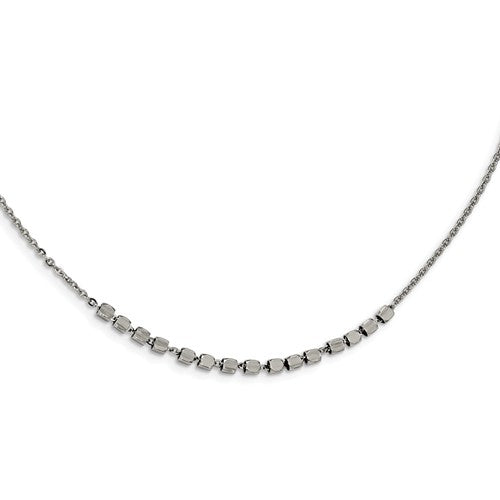 Stainless Steel Polished Beaded 18inch With 2 Inch Ext. Necklace