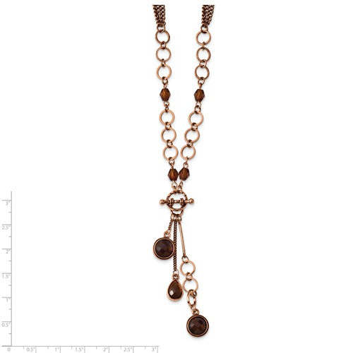 Copper-Tone Brown Acrylic Beads 16in With Ext Y Necklace