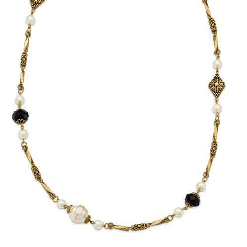 Gold-Tone Glass Pearl And Black Acrylic Bead 42in Necklace