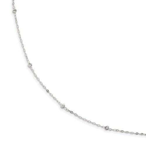 Sterling Silver CZ 5 Station Necklace