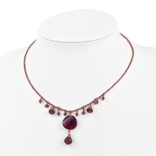 Rose-Tone Purple Glass Beads 16in With Ext Necklace