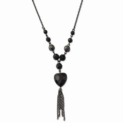 Black-Plated Black Acrylic Beads 16in With Ext Necklace