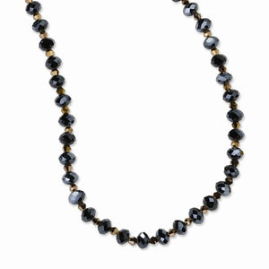 Black-Plated Black And Brown Glass Beads 16in With Ext Necklace