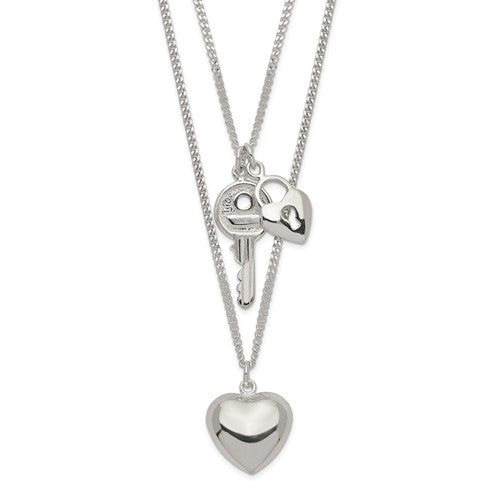 Sterling Silver Double Heart And Key Necklace