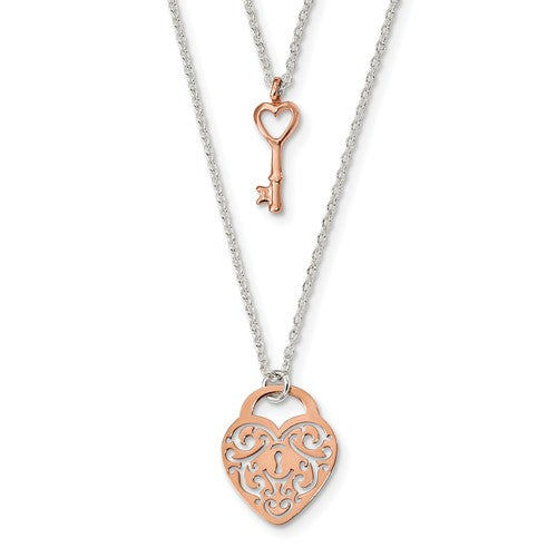 Sterling Silver And Rose-Tone Heart Lock And Key 16in Necklace