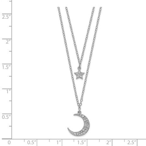 Sterling Silver Rhodium-Plated CZ Star And Moon With 2in Ext 2-Strand Necklace