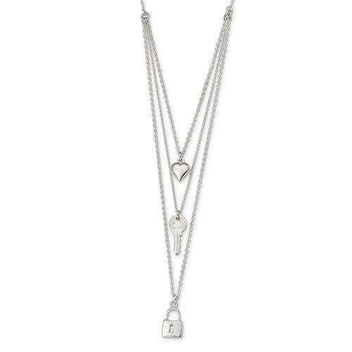 Sterling Silver Polished Lock, Heart And Key Multi-Strand 16in Necklace