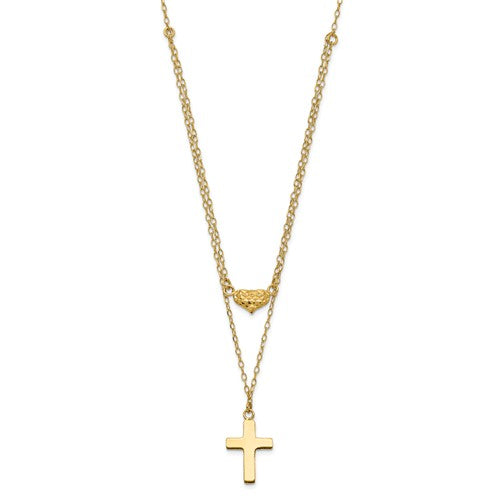 14k Polished 2-Strand D/C Cross And Heart With 2in. Ext. Necklace