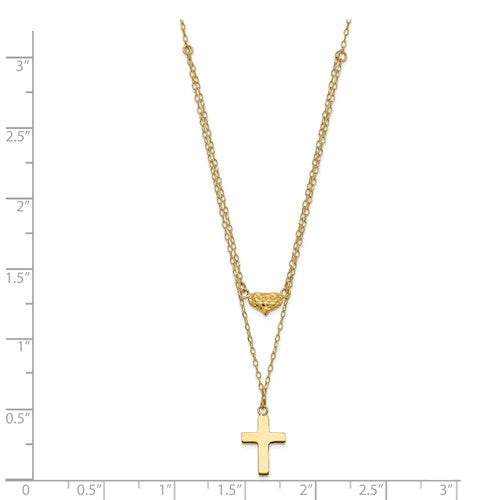 14K Yellow Gold Polished 2-Strand D/C Cross And Heart With 2in. Ext. Necklace