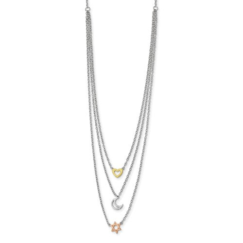 Sterling Silver Rhodium-Plate Gold And Rose-Tone Sun Moon Star Necklace