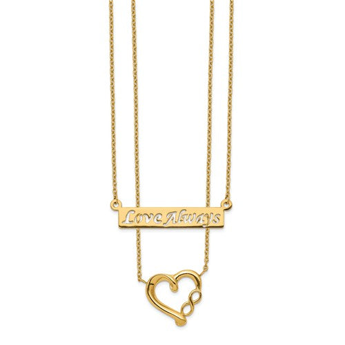 14K Yellow Gold Two-Strand Polished Love Always Heart Necklace