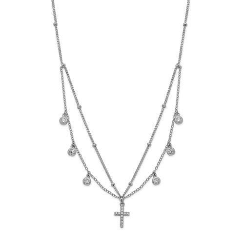 Sterling Silver Rhodium-Plated CZ Cross With 2in Ext Choker Necklace