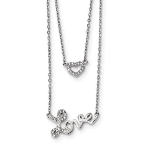 Sterling Silver Rhodium-Plated CZ Love 2-Strand With 2 Inch Ext Necklace