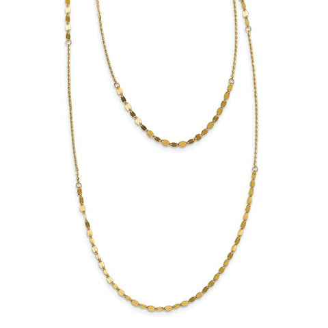 Leslie's 14K Polished D/C Adjustable 2 Layer Necklace With 3.5in Ext.