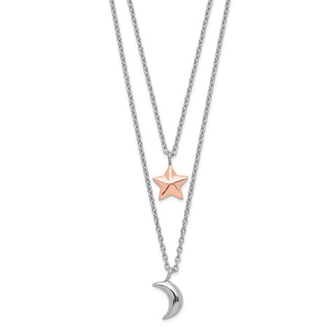 Sterling Silver Rose-Tone Layered Moon And Star With 1in Ext. Necklace