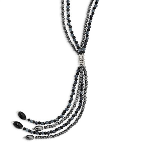 SS BlkAgate/BlkCrys/Hematite/Grey Quartz 2-Strand With 5in Drop Necklace