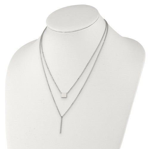 Stainless Steel Polished Multi Chain 16.5in With 2in Ext. Necklace