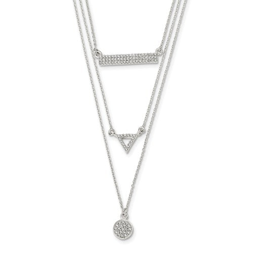 Sterling Silver Polished CZ Circle Triangle And Bar 16in Necklace