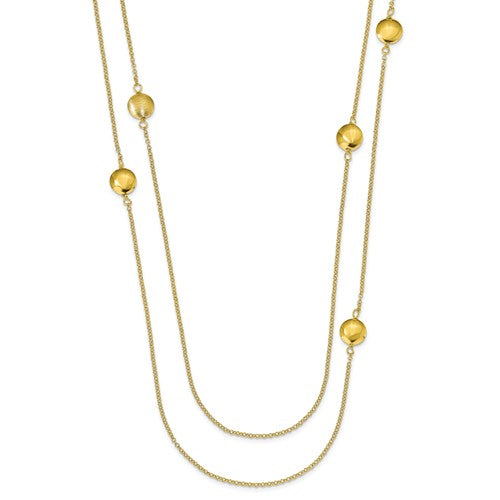 Leslie's Sterling Silver Gold-Tone Textured With 1.5in Ext. Necklace