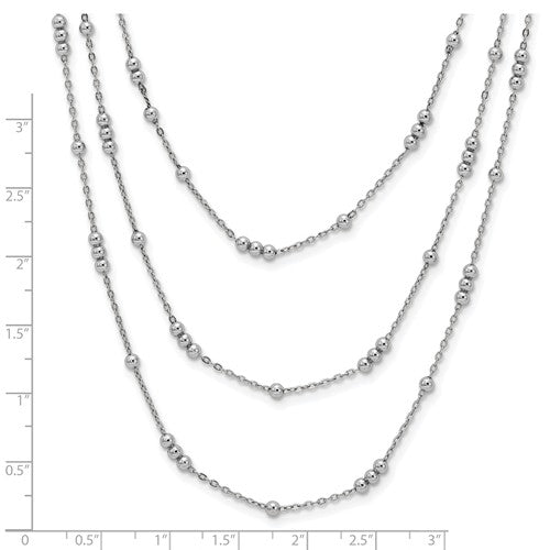 Leslie's Sterling Silver Polished Adjustable 3-Strand Necklace