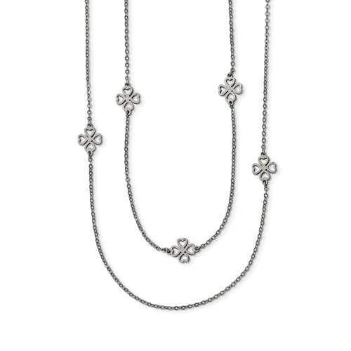 Stainless Steel Two Strand Clover Necklace