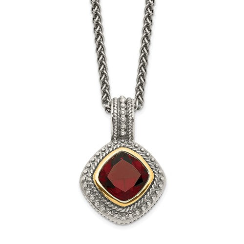 Sterling Silver With 14k Garnet Necklace