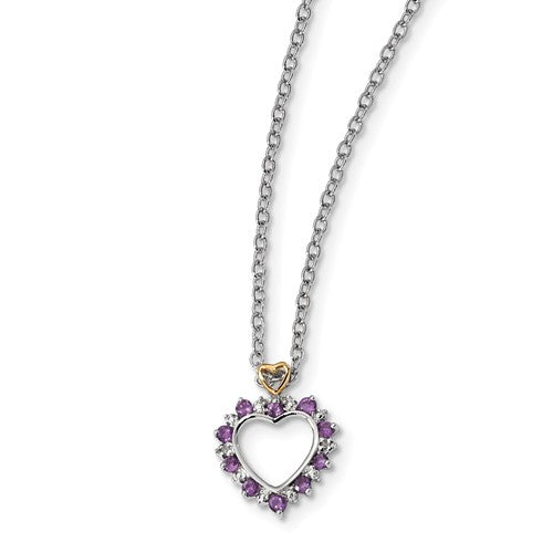 Sterling Silver And 14K Rhodium Plated Amethyst And Diamond Necklace