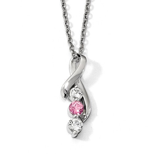 Sterling Silver Survivor Clear/Pink Swarovski Topaz Legacy Necklace