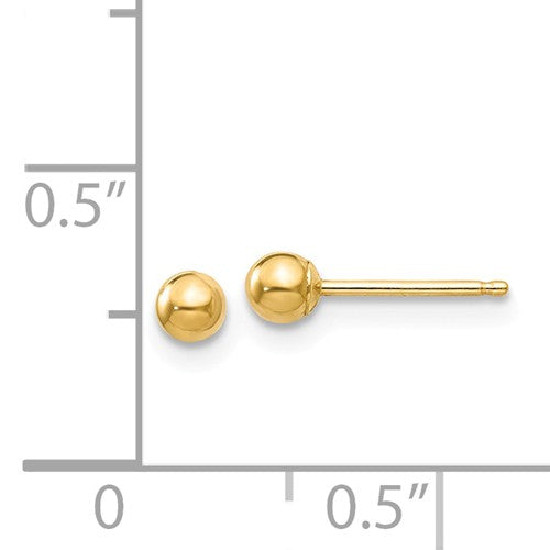 14K Yellow Gold Polished 3mm Ball Post Earrings