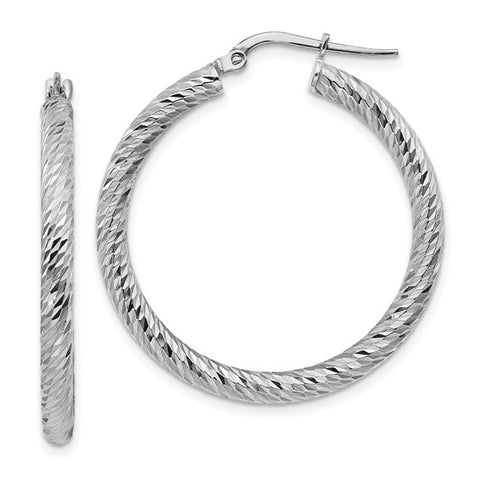 14k 3x25mm White Gold Diamond-cut Round Hoop Earrings