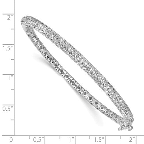 Sterling Silver Pavé Rhodium-plated 175 Stone CZ Hinged Bangle