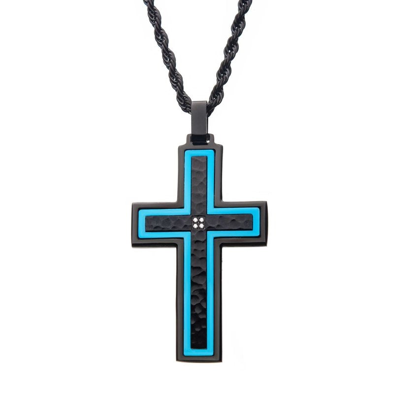 Hammered Blue Line Cross with CZ Stainless Steel Pendant