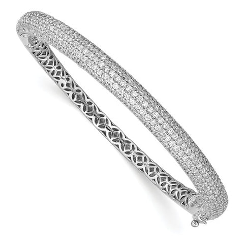 Sterling Silver Pavé Rhodium-plated 283 Stone CZ Bangle