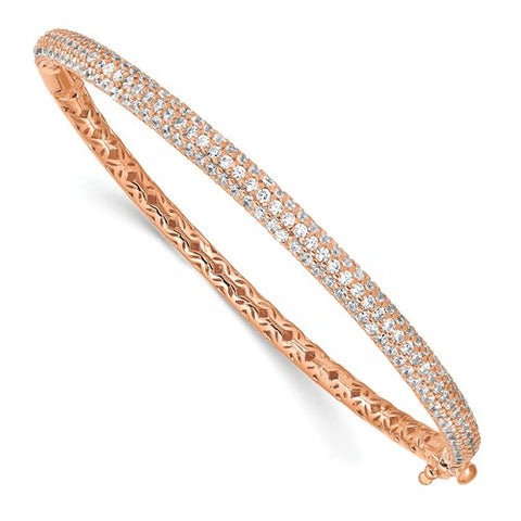 Sterling Silver Pavé Rose-tone 175 Stone CZ Hinged Bangle